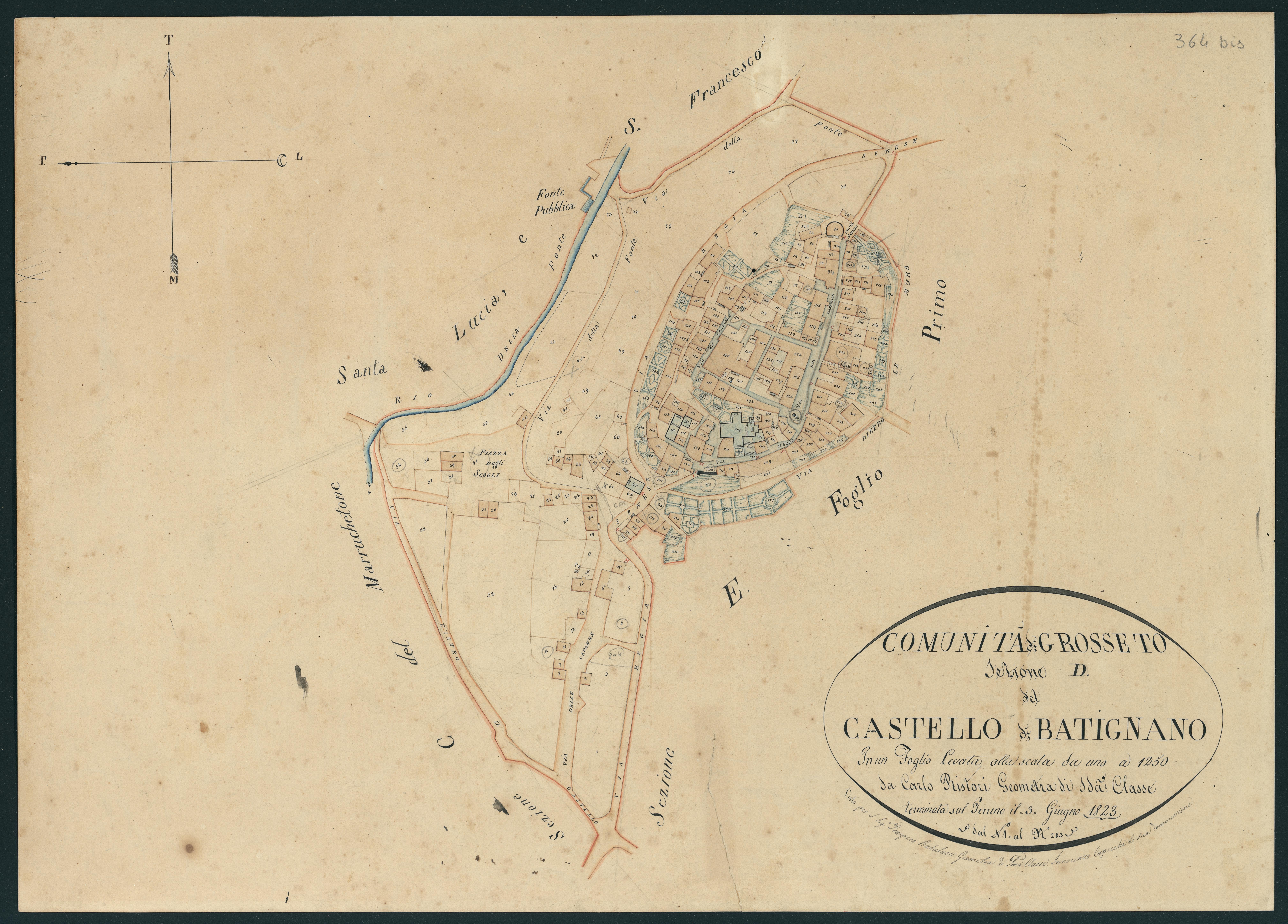 Cartina Batignano Antica dall'Archivio di Stato (GR)